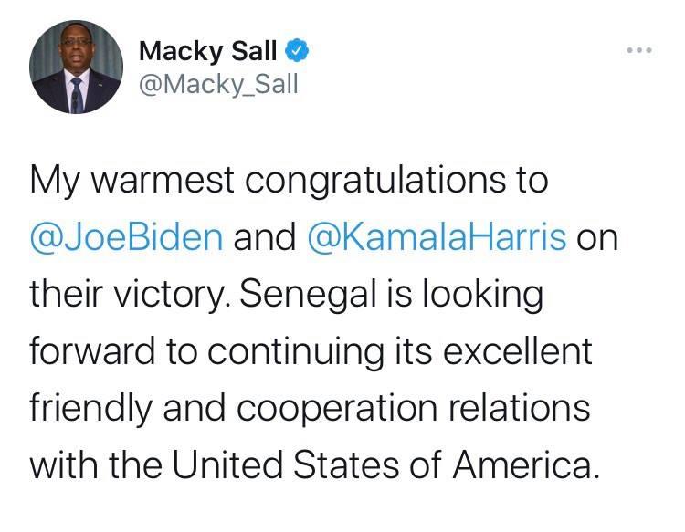 Macky Sall tweet on Biden