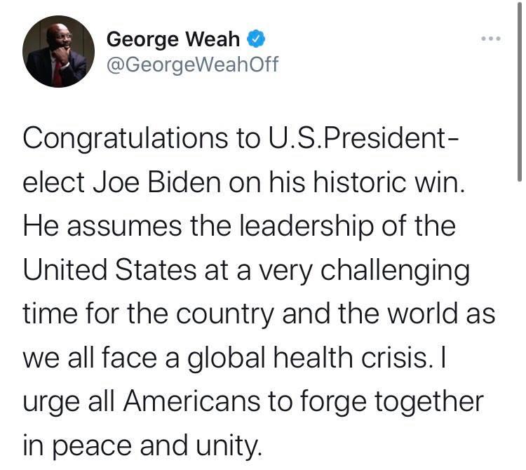 Georges Weah tweet