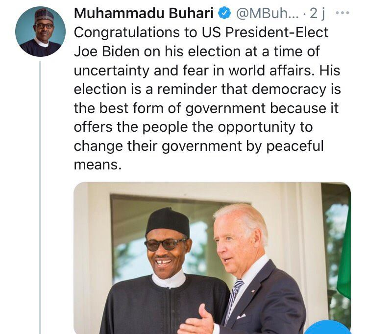 Muhammad Buhari tweet on Biden
