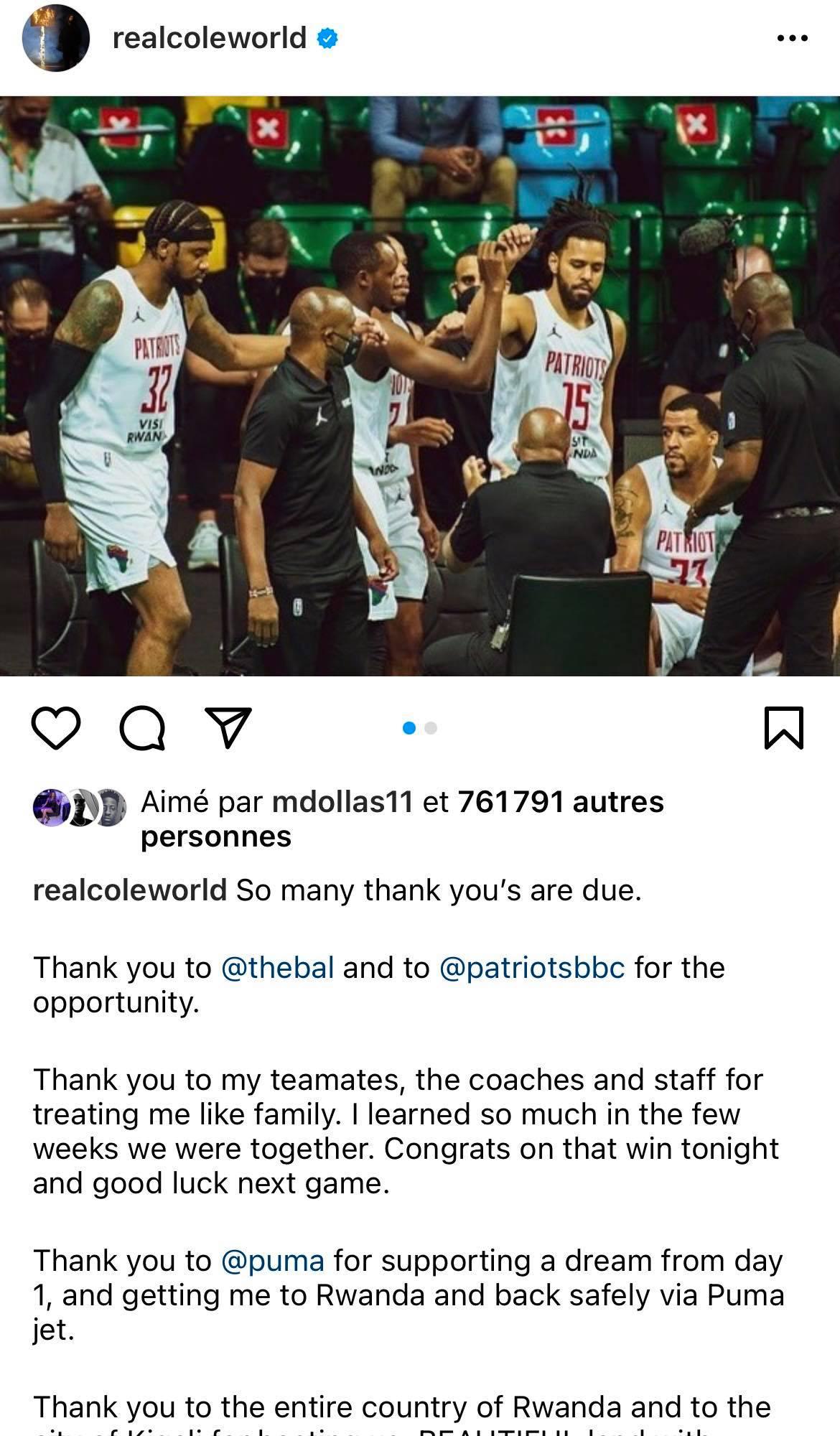 J cole says goodbye to BAL